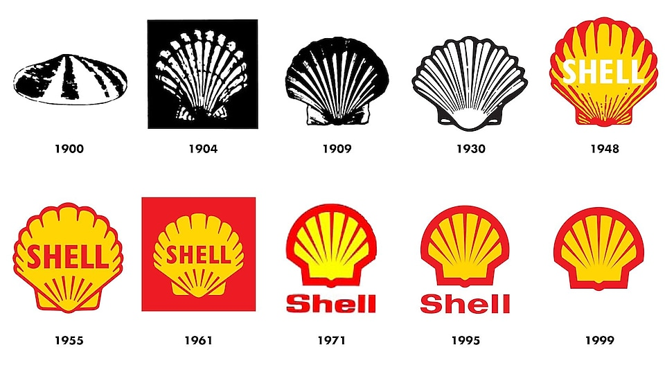 Image shows how the Shell emblems has changed from 1900 to current emblem