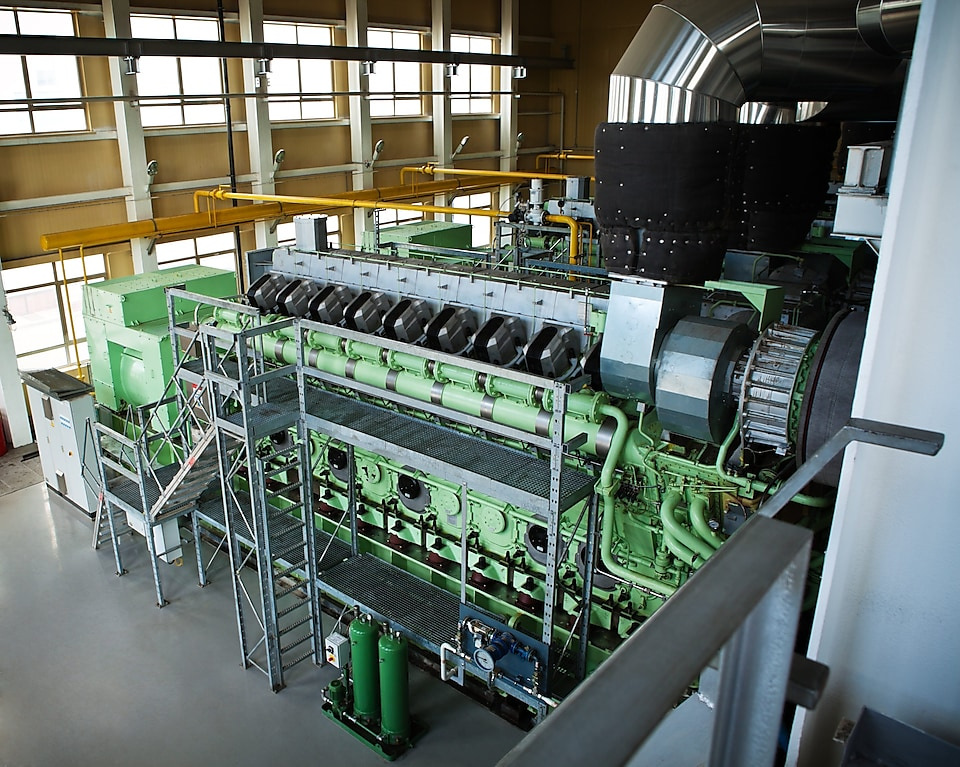 Industrial engine in a natural gas fired electrical power plant