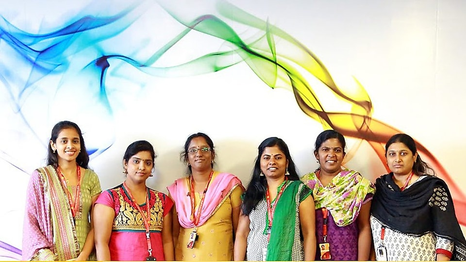 Poorni and female colleagues at International Women's Day 2015