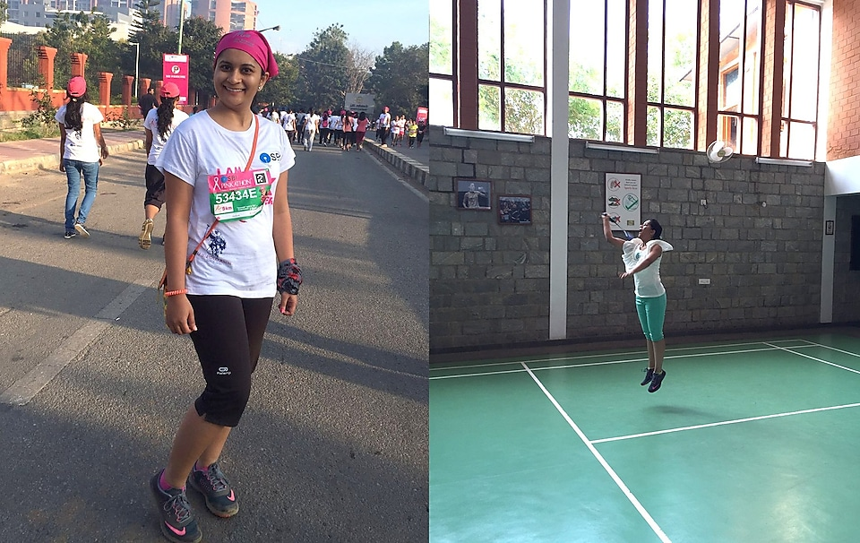 Divya posing after finishing a race, and jumping during a badminton game