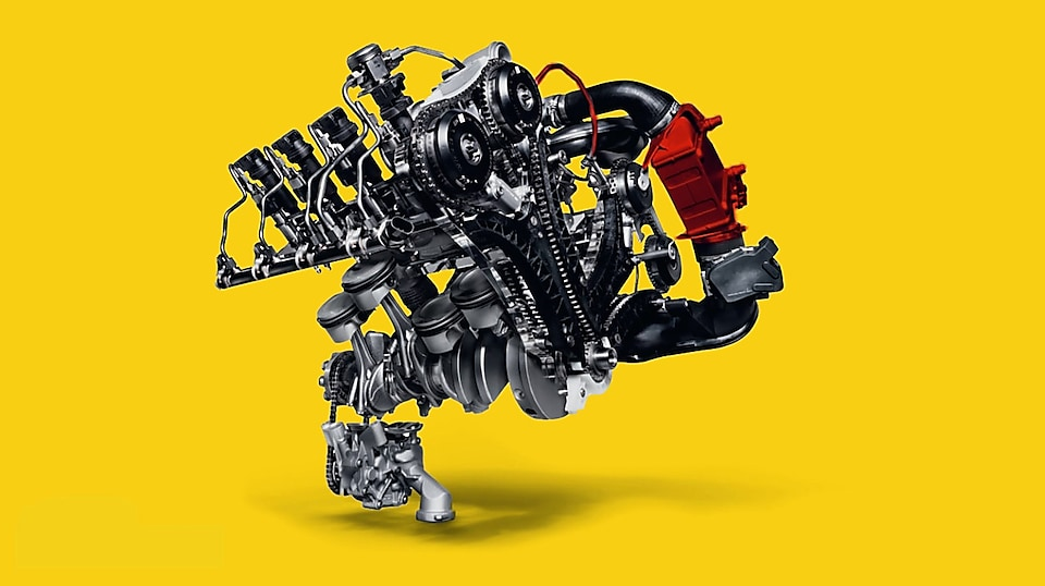Turbocharging machinery air compressor with yellow background