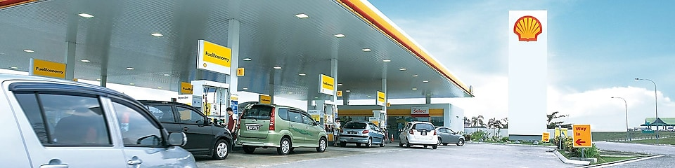 Shell Station with the cars in queue to refuel the tank
