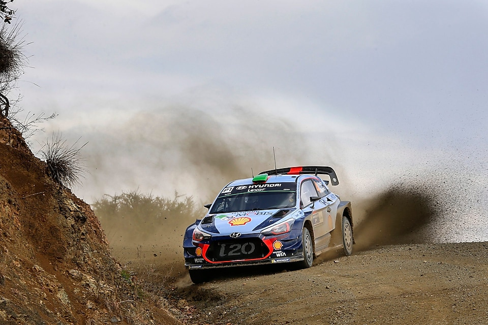 Hyundai car racing leaving soil behind