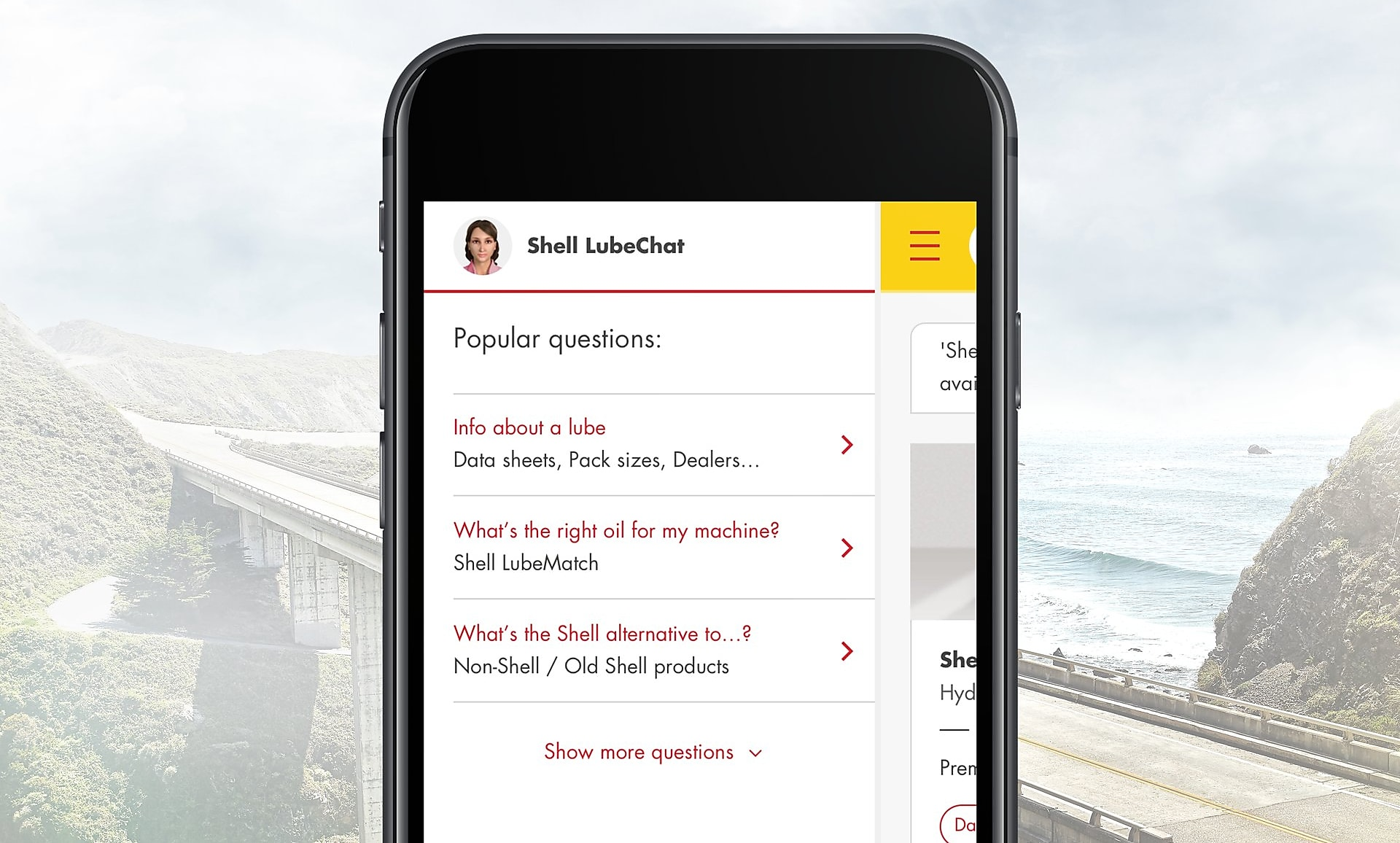 Shell LubeChat mobile interface